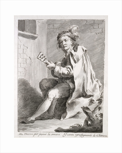 A Seated Man Playing a Guitar by Pietro Antonio Novelli