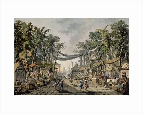 Market Scene in an Imaginary Oriental Port by Jean-Baptiste Pillement