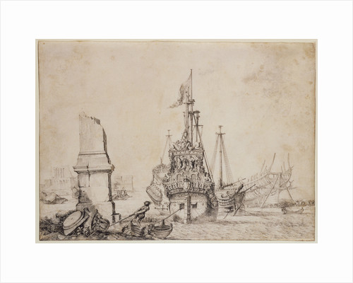 A ship in a port near a ruined obelisk by Pierre Puget