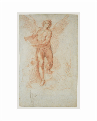 An Angel Holding a Book (recto), Three Studies of a Falling Male Figure (verso) by Cristoforo Roncalli
