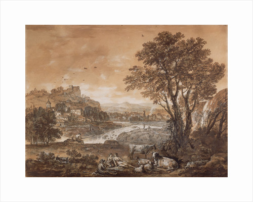 A Landscape with Shepherds Resting Under a Tree by a Cascade (recto), Sketch of a Landscape (verso) by Francesco Zuccarelli