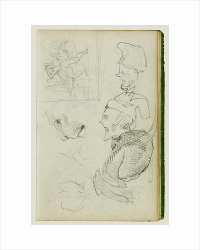 Studies of lion, compositional group figure study, two caricature head studies by Théodore Géricault
