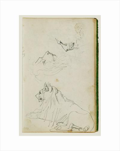 Seated lion, two lion head studies by Théodore Géricault