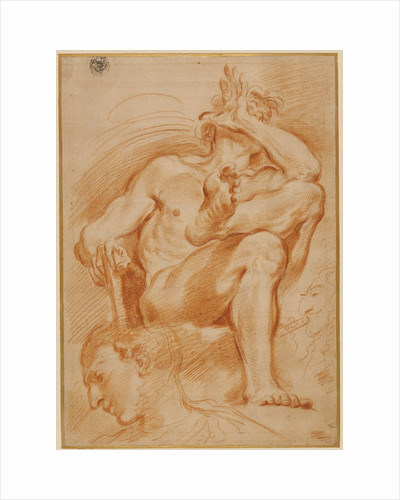 Sheet of Studies: A Seated Nude Man, A Youthful Head and a Caricature Head of a Man Playing a Pipe by Domenico Maria Canuti