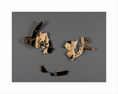 Attic White-Ground Cup (Lipped Inside) Fragment with Dionysos and a Satyr and One Black-Gloss Cup Fragment (rim) by Onesimos
