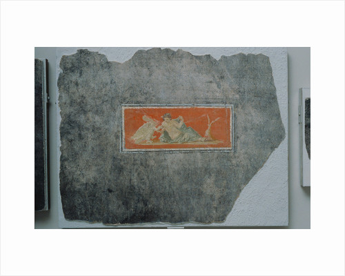 Fresco Fragment with Woman and Swan by Anonymous