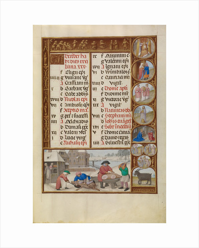 Slaughtering of Pigs, Zodiacal Sign of Capricorn by Workshop of the Master of James IV of Scotland