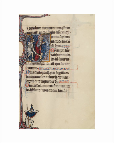 Initial D: The Fool, with a Dog Face and Wearing Winged Headgear, Menacing Christ, bas-de-page A Fool Making Face at the Reader by Bute Master