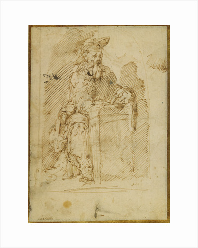 St. Jerome (recto), Kneeling Male Nude, with His Head and Shoulders Leaning Back (verso) by Juan del Castillo