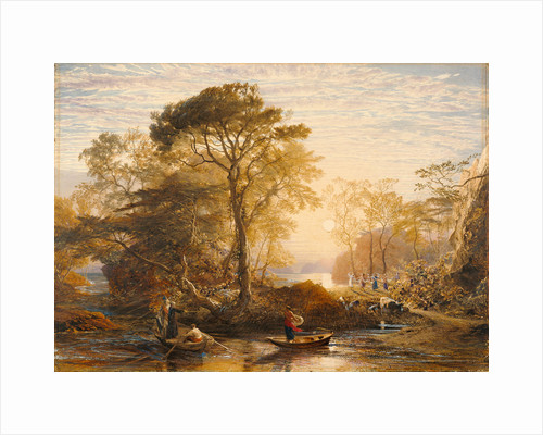Sir Guyon with the Palmer Attending, Tempted by Phaedria to Land upon the Enchanted Islands by Samuel Palmer
