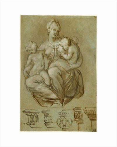 Charity and Studies of Entablatures (recto), Frieze of Putti (verso) by Paolo Farinati