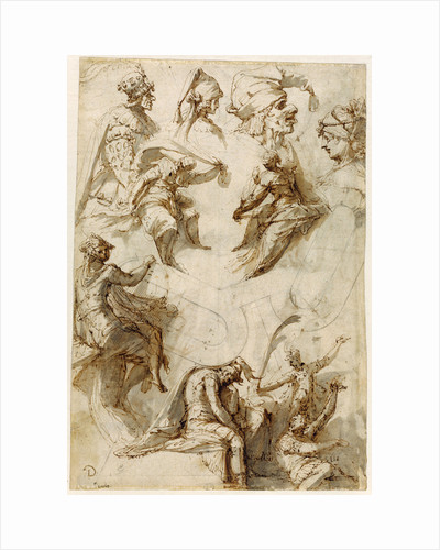 Studies of Figures and Architecture (recto), Figure Studies (verso) by Perino del Vaga