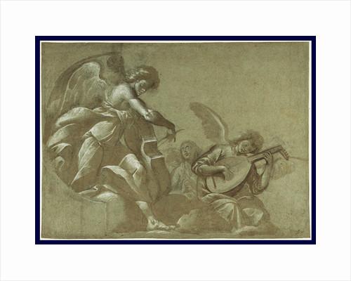 Angel Musicians (recto), Head Studies (verso) by Morazzone