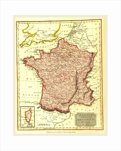 Map of France according to the treaty of Paris in 1814 by Anonymous