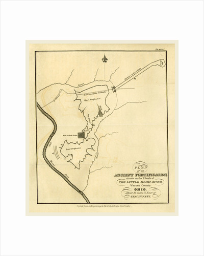 Map of an ancient fortification on the bank of the Little Miami River, Warren County, Ohio, east of Cincinnati, 19th century by Anonymous