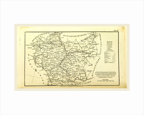 A Topographical Dictionary of the United Kingdom, Leicestershire map, UK by Anonymous