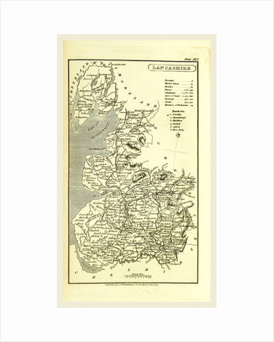 Lancashire map 1824, A Topographical Dictionary of the United Kingdom, UK by Anonymous