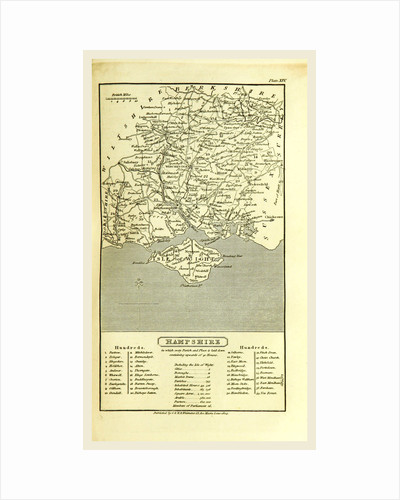 Hampshire, map 1824, A Topographical Dictionary of the United Kingdom, UK by Anonymous