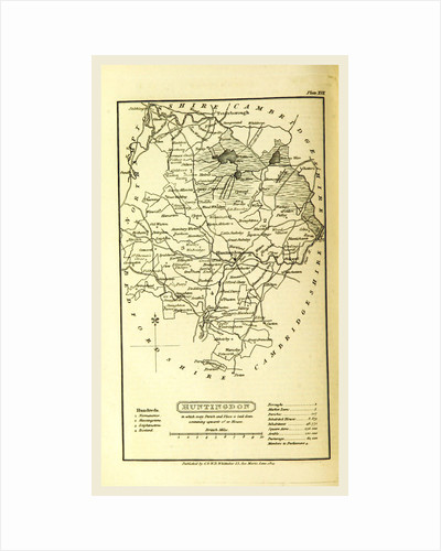 Huntingdon map, A Topographical Dictionary of the United Kingdom, UK by Anonymous