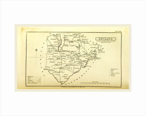 A Topographical Dictionary of the United Kingdom, Rutland map, UK by Anonymous