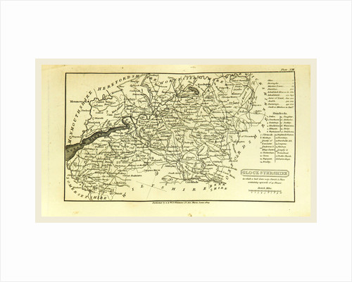 A Topographical Dictionary of the United Kingdom, Glocestershire map, Gloucestershire, UK by Anonymous