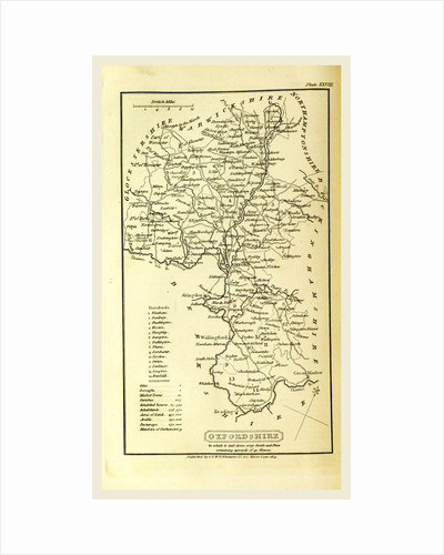 Oxfordshire, map, A Topographical Dictionary of the United Kingdom by Anonymous