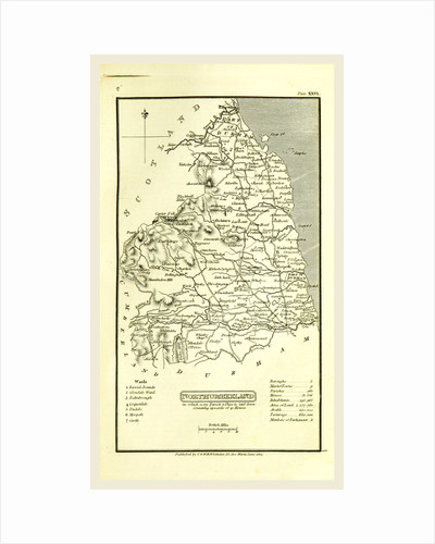 Northumberland map, 1824, UK by Anonymous