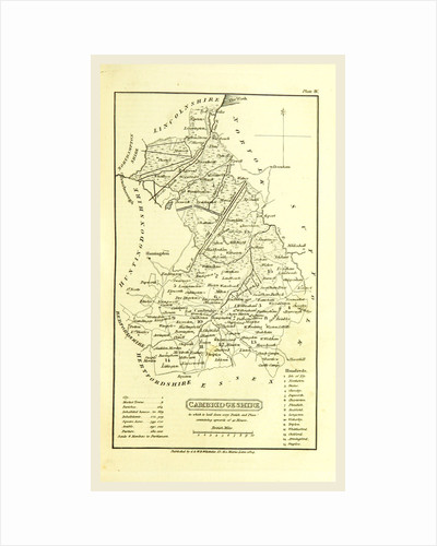 Cambridgeshire map, A Topographical Dictionary of the United Kingdom, UK by Anonymous