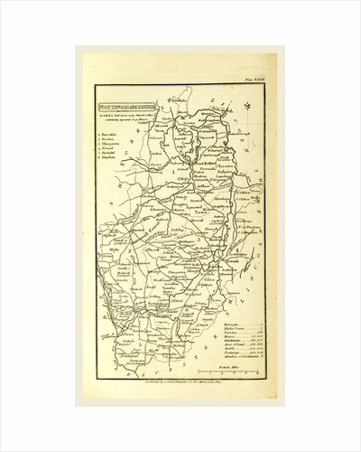 Nottinghamshire, map, A Topographical Dictionary of the United Kingdom by Anonymous