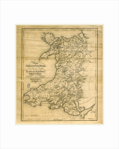 A Topographical Dictionary of Wales, map of North and South Wales by Anonymous