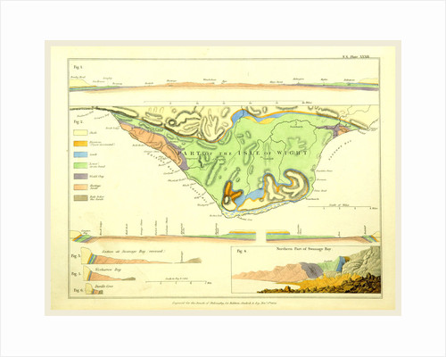 The Geological relations of the beds between the chalk and the Purbeck Limestone in the South-East of England, 1824, part of the Isle of Wight by Anonymous