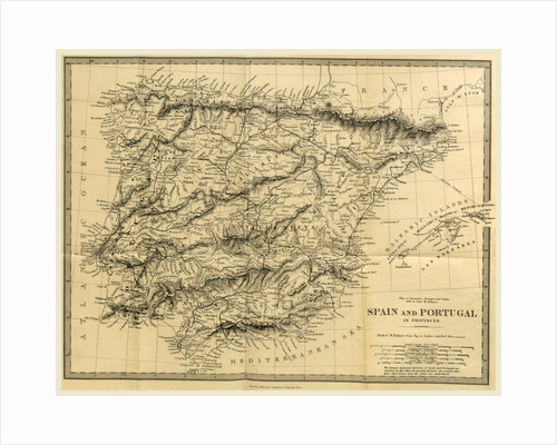 Map Spain and Portugal, The Wars of Succession of Portugal and Spain from 1826 to 1840 by Anonymous