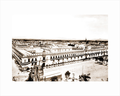 Palace from cathedral, city of Mexico, Mex, Jackson, Castles & palaces, Plazas, Mexico, Mexico City, 1880 by William Henry
