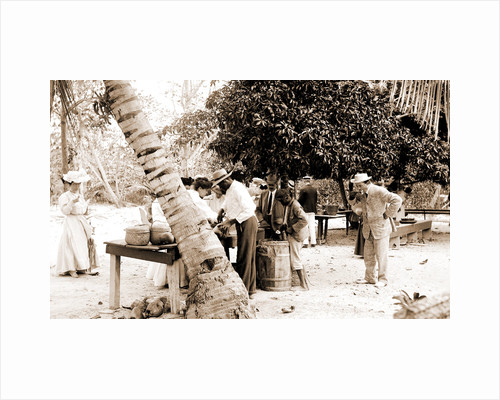Tourists buying coconuts and fruit from vendor, probably Nassau by Anonymous