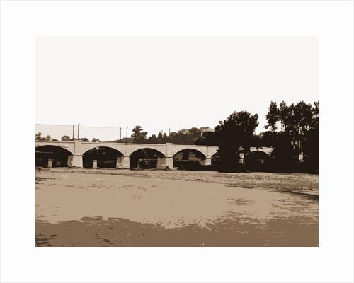 Railroad bridge and arched bridge over river, Bridges by Anonymous
