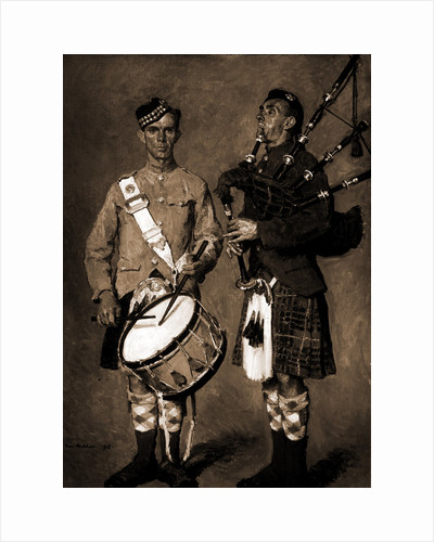 Drummer and bagpipe player in Scottish uniform, Melchers by Anonymous
