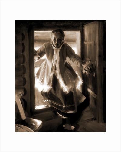 In the loft door by Anders Zorn