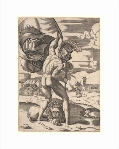 Standard Bearer, 16th century by Marcantonio Raimondi