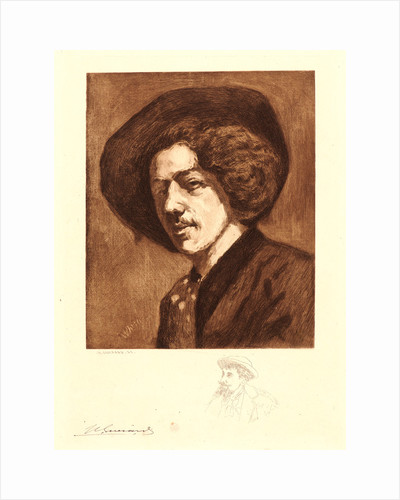 Portrait of Whistler after His Self- Portrait, Aged 20 by Henri Charles Guérard