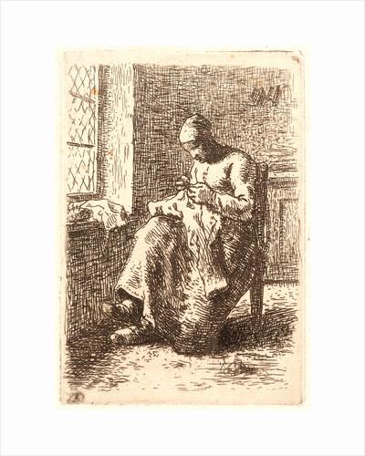 Woman Sewing (La Couseuse), ca. 1855-1856. Counterproof etching printed in dark brown ink by Jean-François Millet