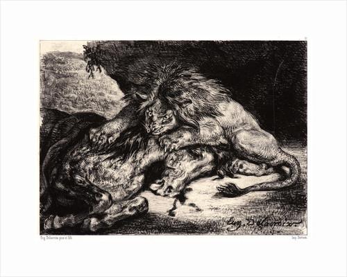 Lion Devouring a Horse (Lion Devorant un Cheval), after Delacroix's painting, 1844 by Eugène Delacroix