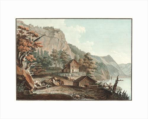House and a Barn by a Swiss Lake, ca. 1776-1786 by Charles-Melchior Descourtis