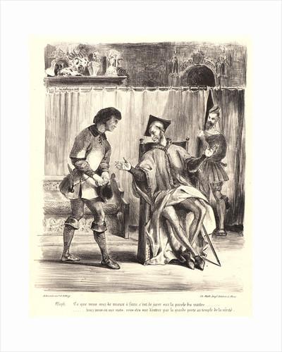 Mephistopheles Receiving the Student (Méphistophélès recevant l'écolier), 1828 by Eugène Delacroix