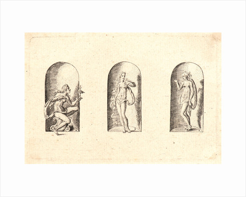 Several Gods of Classical Antiquity (Plusieurs Divinités de l'Antiquiteé Paienne), plate 6, 1578 by Etienne Delaune