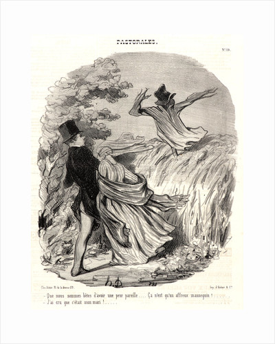 We are stupid to be so afraid—it is nothing but a horrible scarecrow—I thought it was my husband by Honoré Daumier