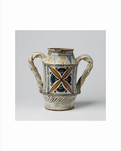 Pot with two twisted ears, decorated with star-shaped ornaments, pointed leaves, impeller shapes and spirals by Anonymous