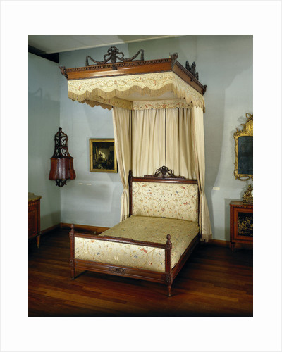 Bed of oak, with sky and loose curtains by Anonymous