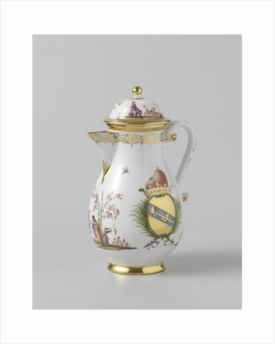 Coffeepot with lid, multicolor painted with chinoiserie and the arms of the Venetian family Morosini by Anonymous