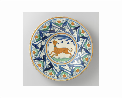 Dish, multicolor painted with the flat a dog surrounded by two other zigzagging and intersecting lines by Anonymous