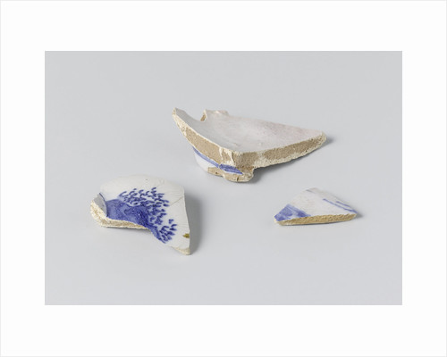 Fragment, three pieces, of a blue painted vase by Anonymous